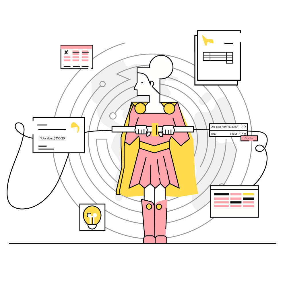 Illustration of a female superhero connecting assets, product, and brand elements together.