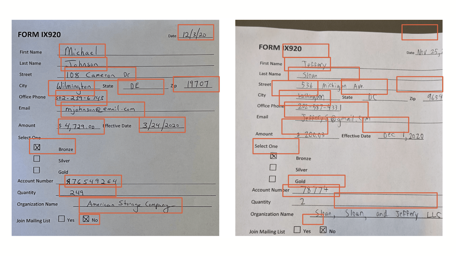 Two scanned forms. The form on the left has red box highlights around handwritten text, the form on the right has red boxes but they don't align with the handwritten text.