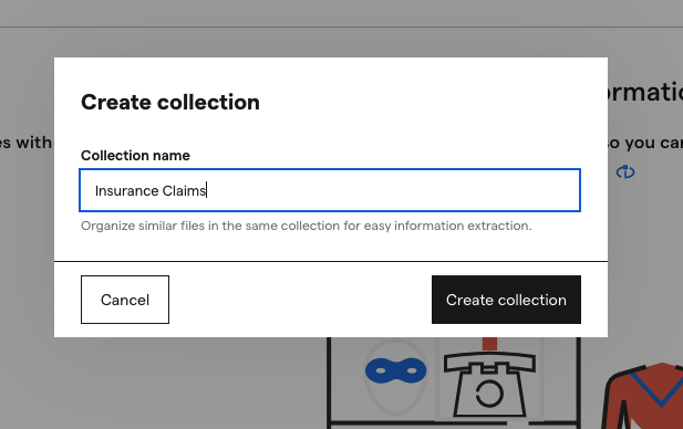 Screenshot of naming your collection