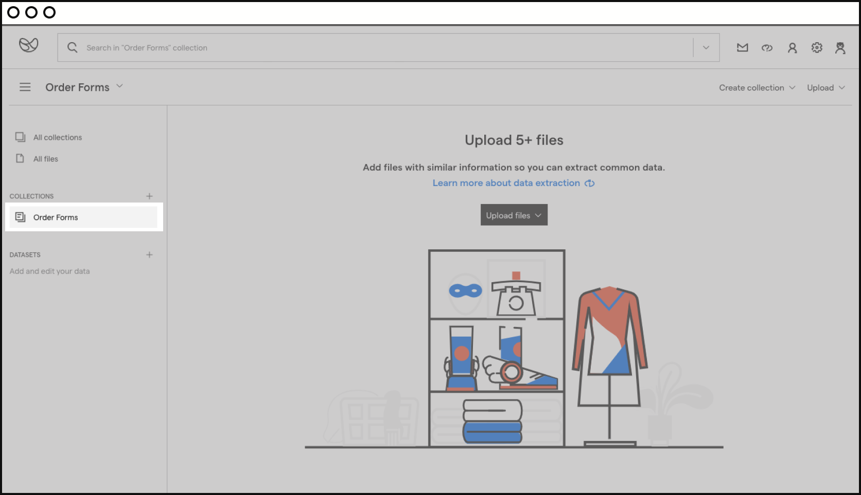 screenshot of the platform and where to find your new collection.