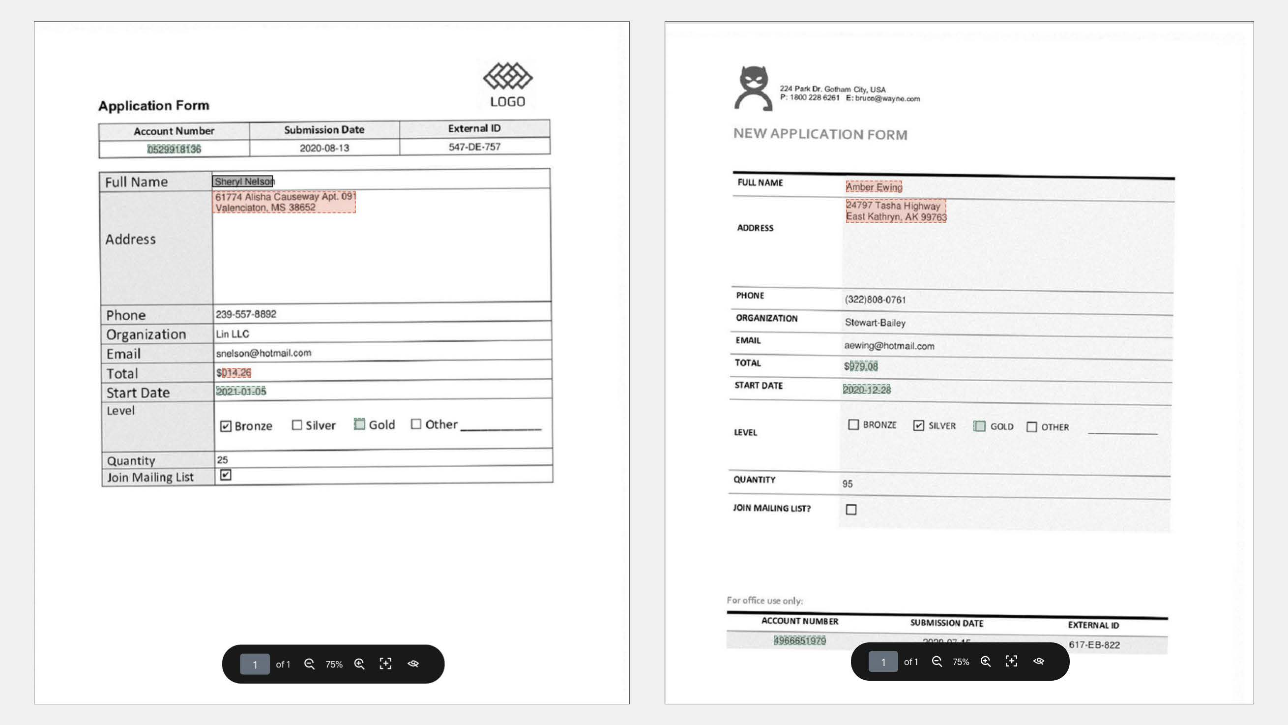 Two different documents with the same schema and different physical layouts