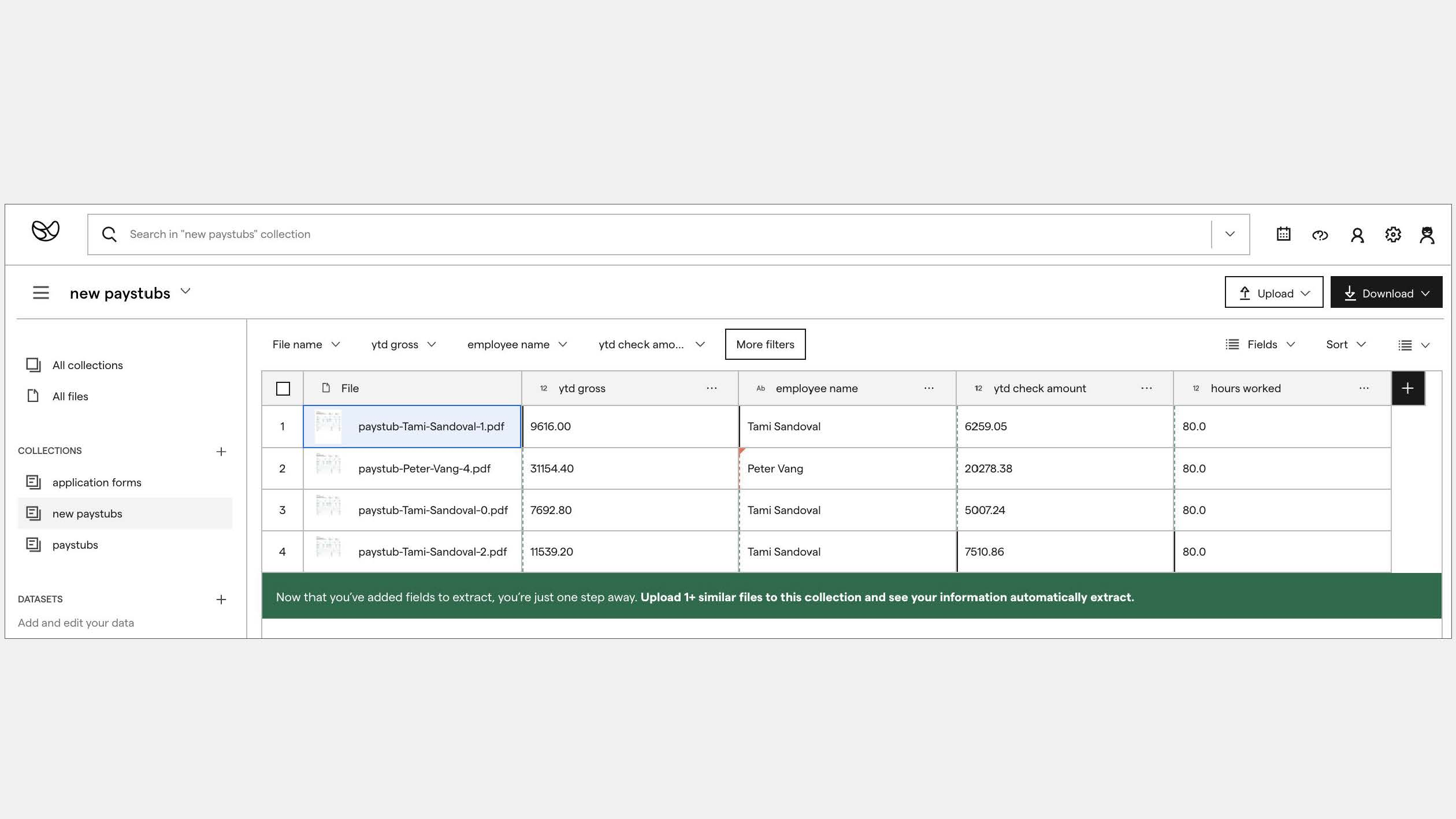 Example prompt to upload at least 5 documents to a collection