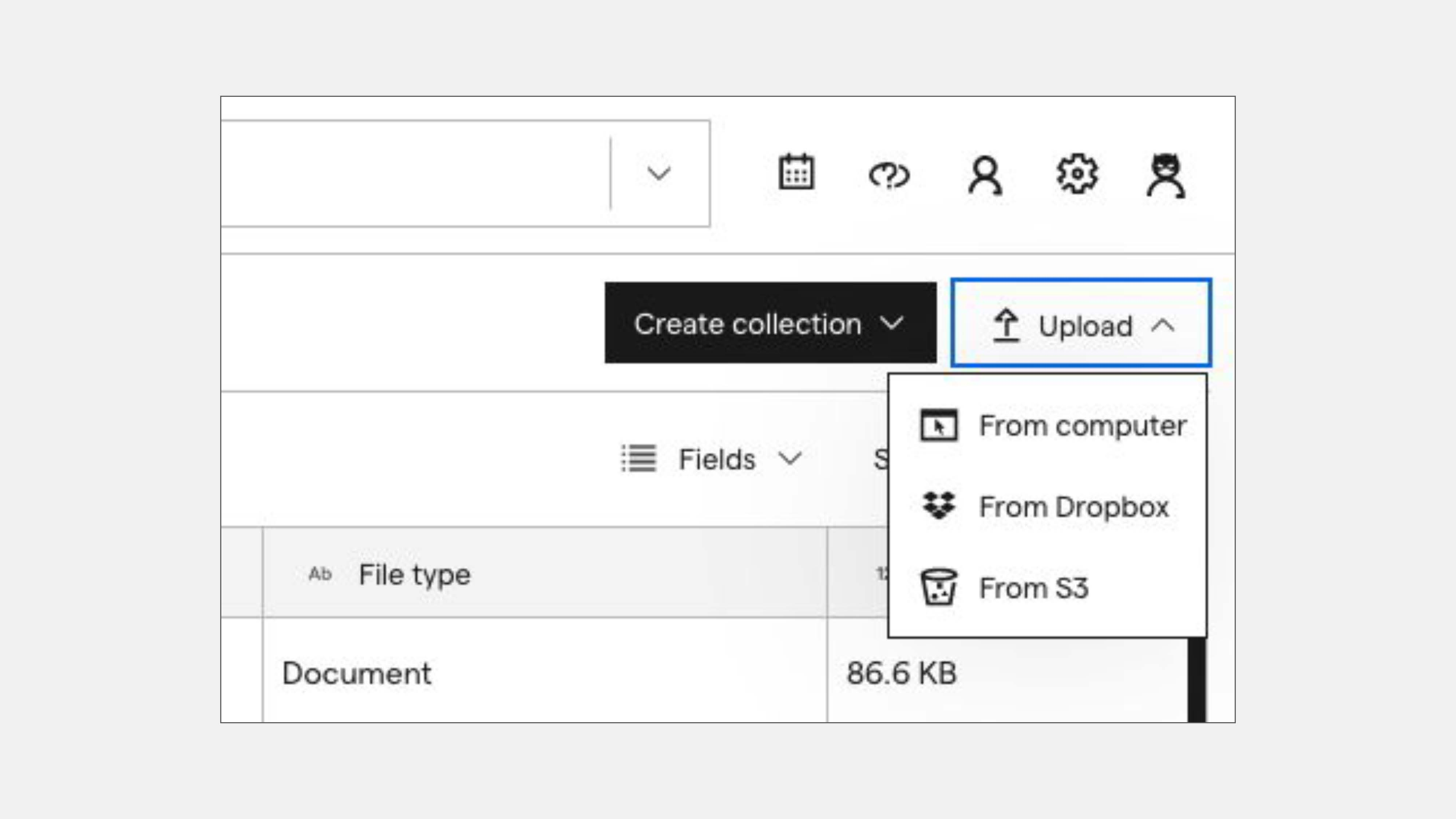 Screenshot of the upload button and the various ways you can upload to Impira AutoML.