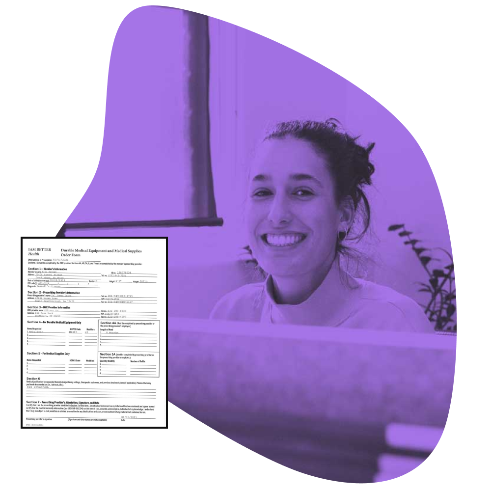 Screenshot of a custom medical form and an image of a smiling female at her desk.