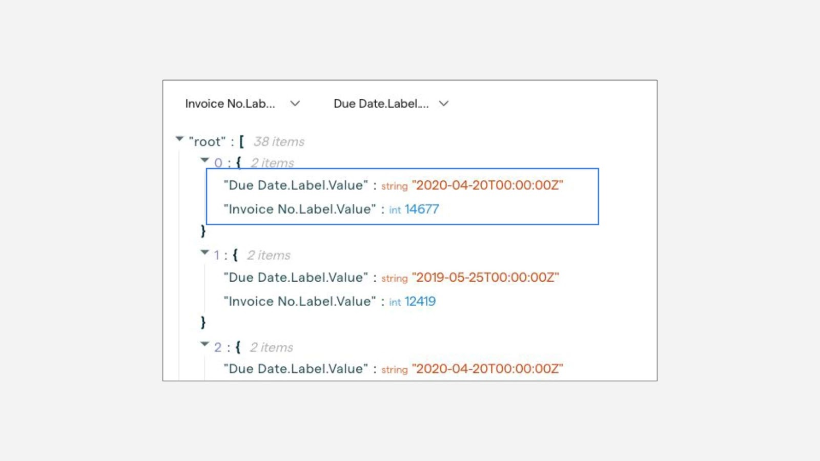 JSON query result for Invoice No andDue Date fields