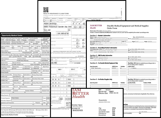 various medical and insurance forms