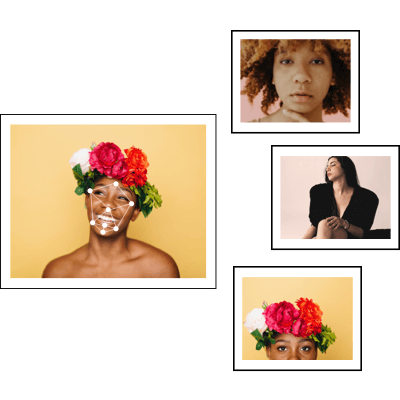 4 photos: one larger photo of a female with a flower crown, three smaller images of two different people and one thats the same person as the larger photo