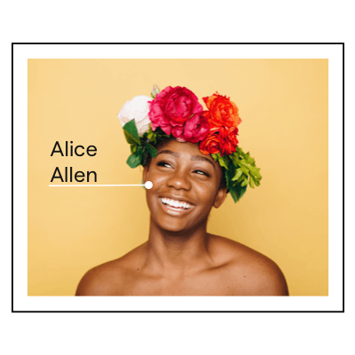 female with a flower crown with her face tagged with her name Alice Allen