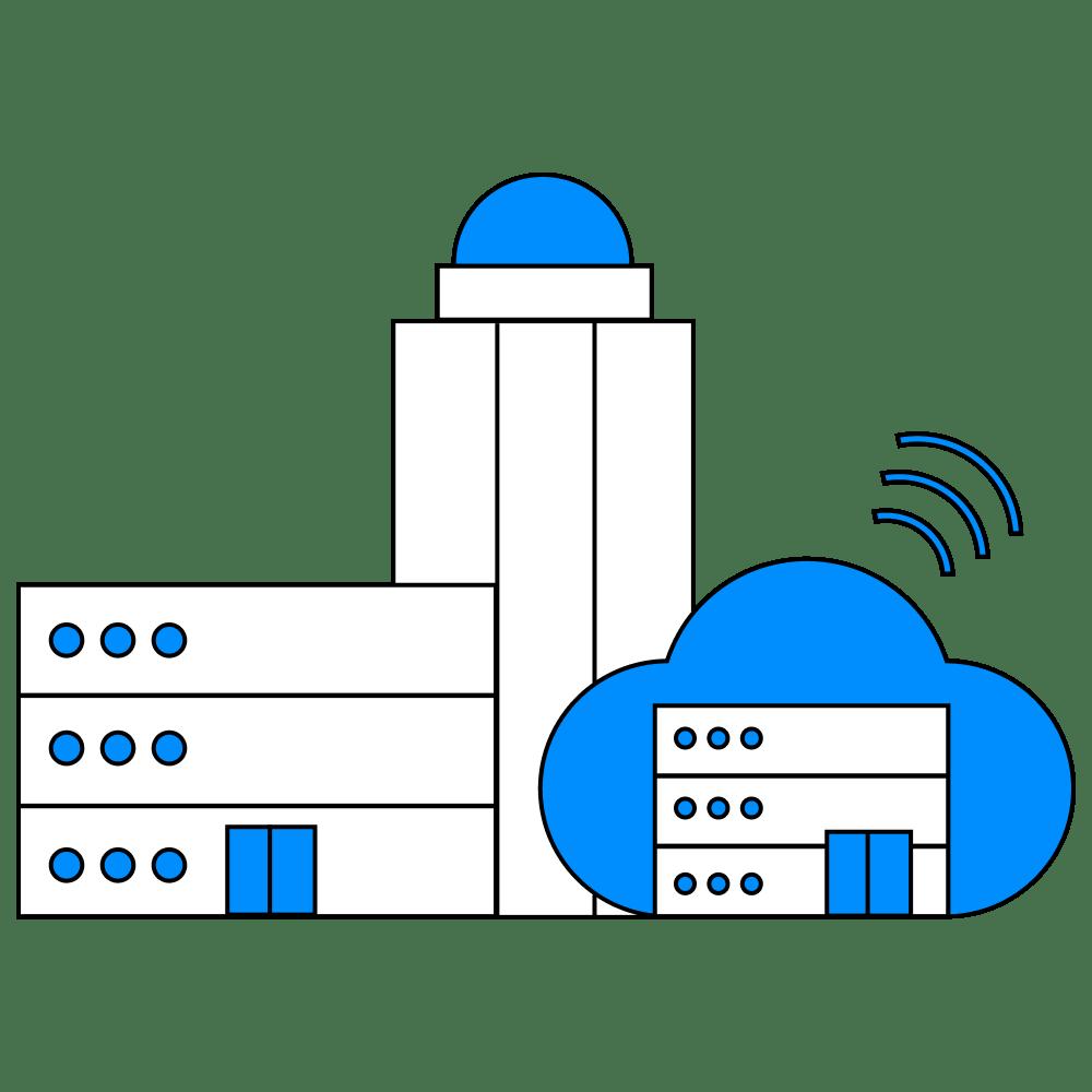 illustration of a data center on-prem and cloud storage.