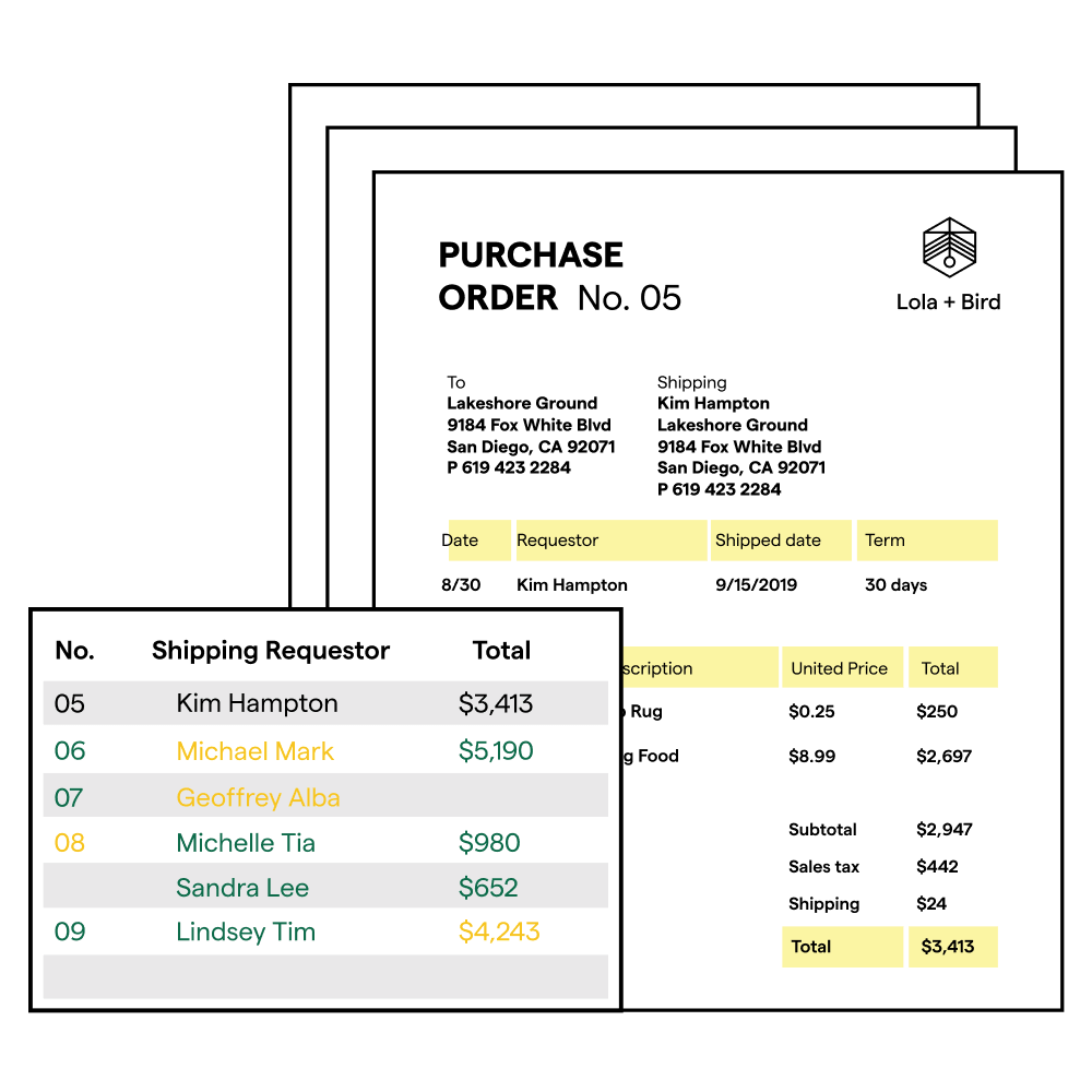 Illustration of a purchase order and a table with matching information.