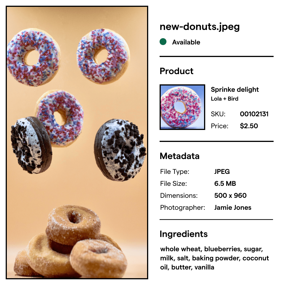 Asset details view for an donut images. The details contains the product information, asset metadata, and ingredients list.