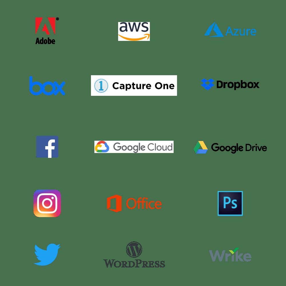 Impira integrations: Adobe, AWS, Azure, Box, Capture One, Dropbox, Facebook, Google Cloud, Google Drive, Instagram, Microsoft Office, Photoshop, Twitter, Wordpress, Wrike