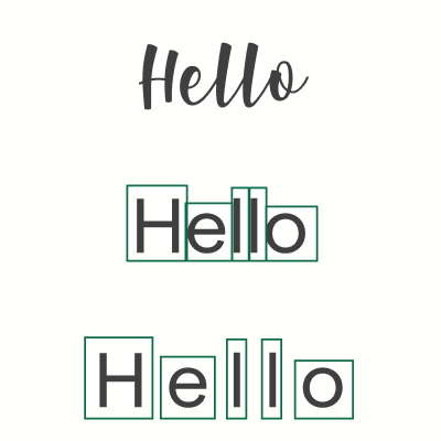 "The word ""Hello"" in cursive, letters highlighted in green, and then seperated."