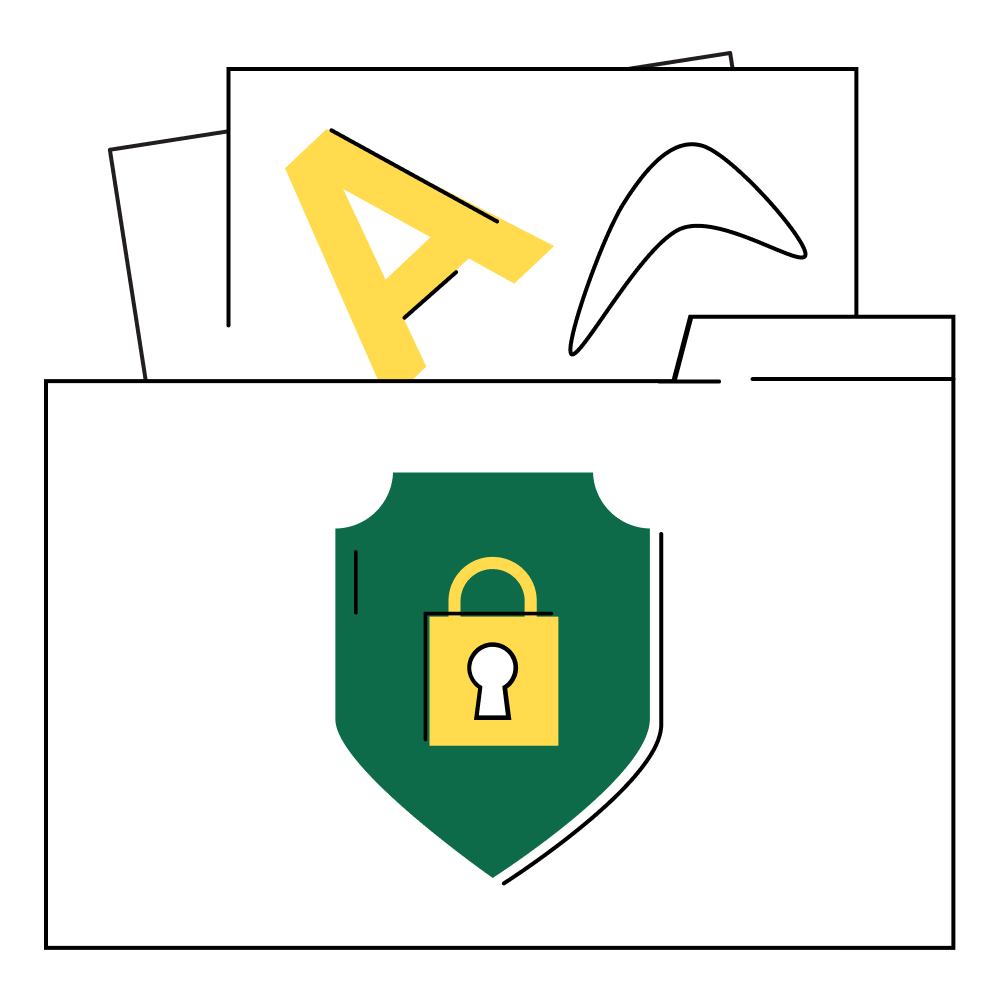 Illustration of a folder with a shield and lock that contains documents.