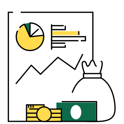 An illustration showing a financial space that contains a sheet with a pie chart, bar graph, and line graph, with money in front of it.