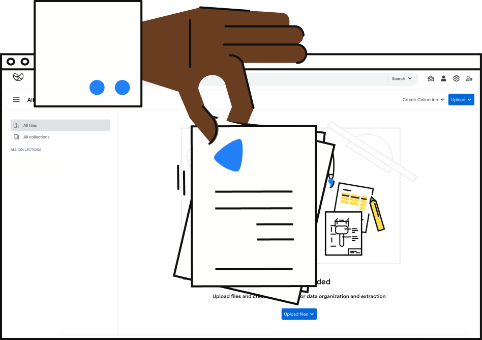 illustration of a hand dropping pages of a files into the Impira platform.