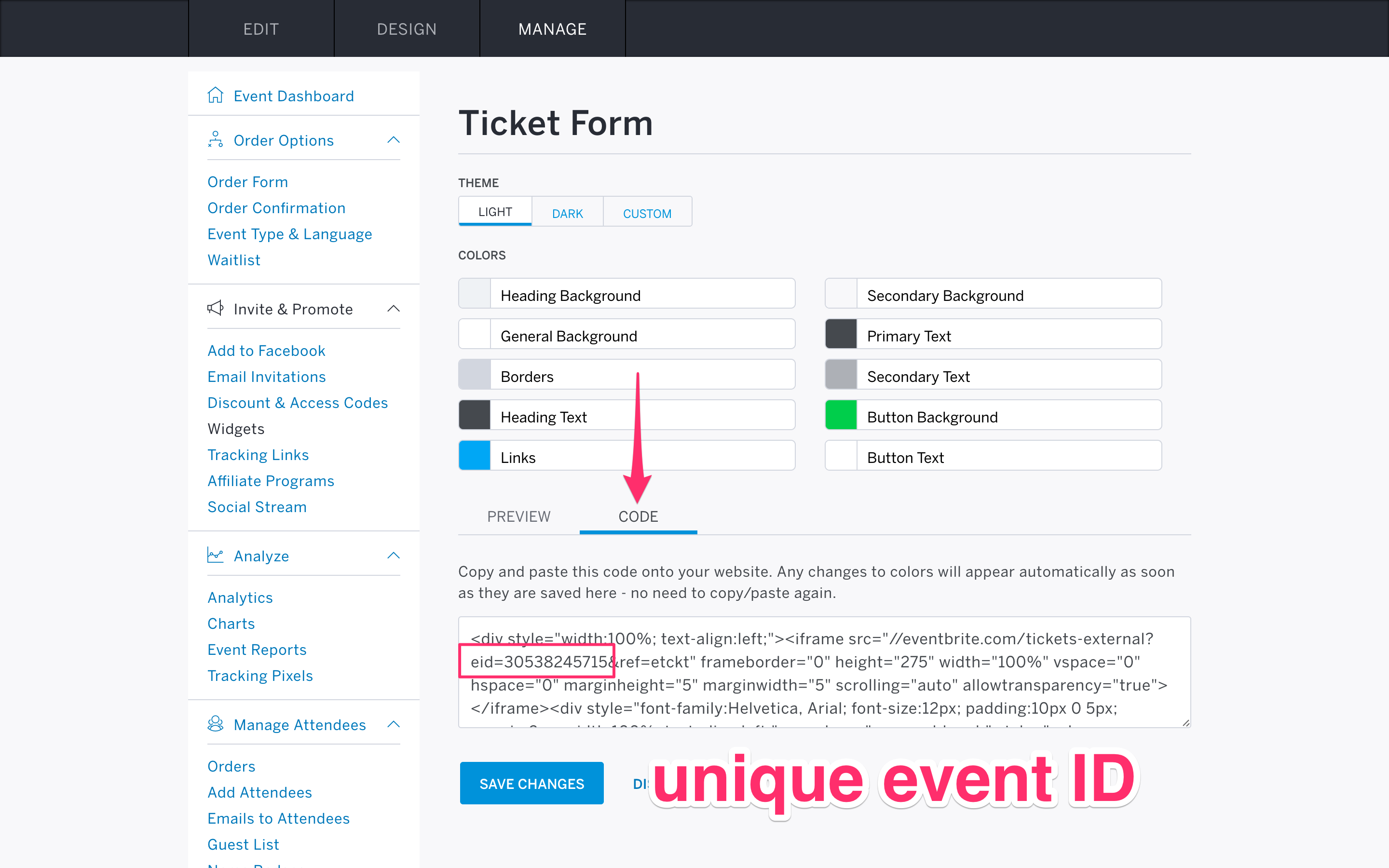 Location of the embed code in your event settings.