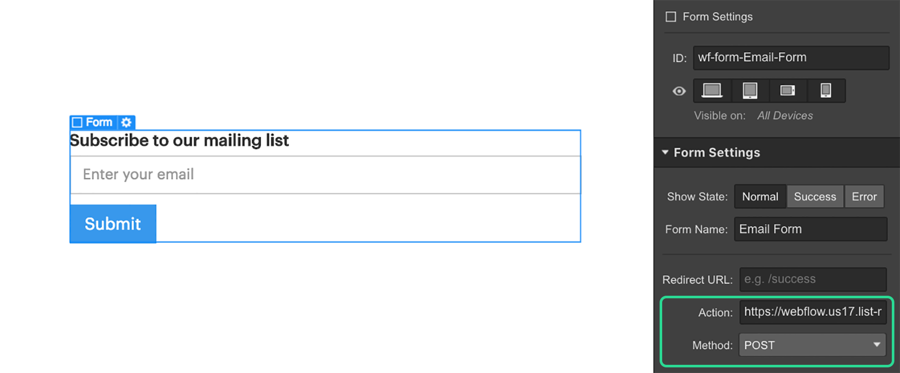 Connect your Webflow form to a Mailchimp list