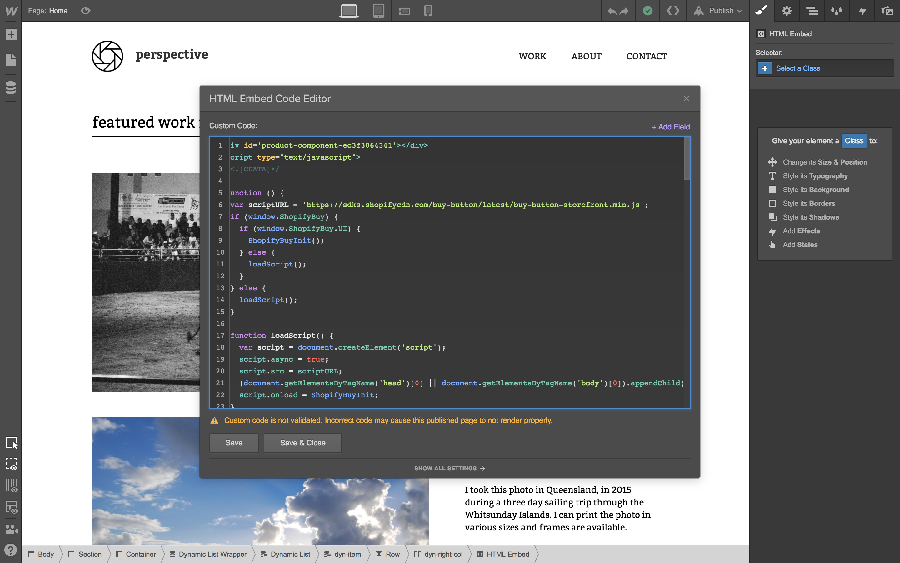 Paste in the embed code.