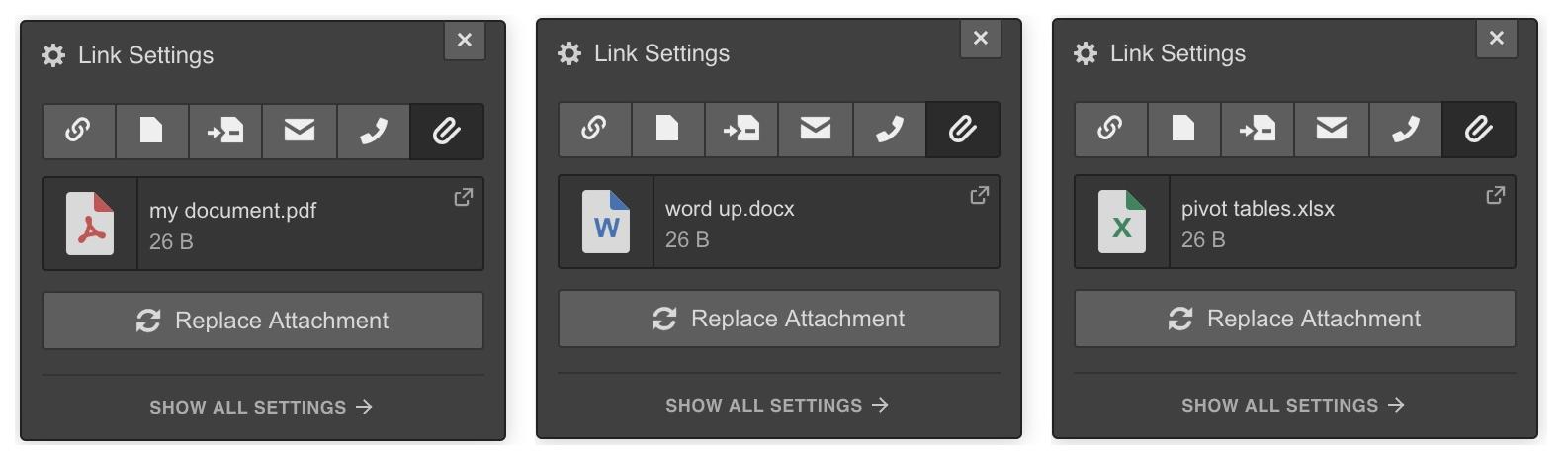Webflow file attachment settings