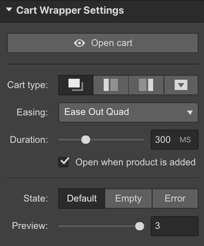 Edit the cart settings
