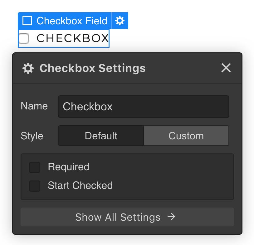Checkbox settings in Webflow