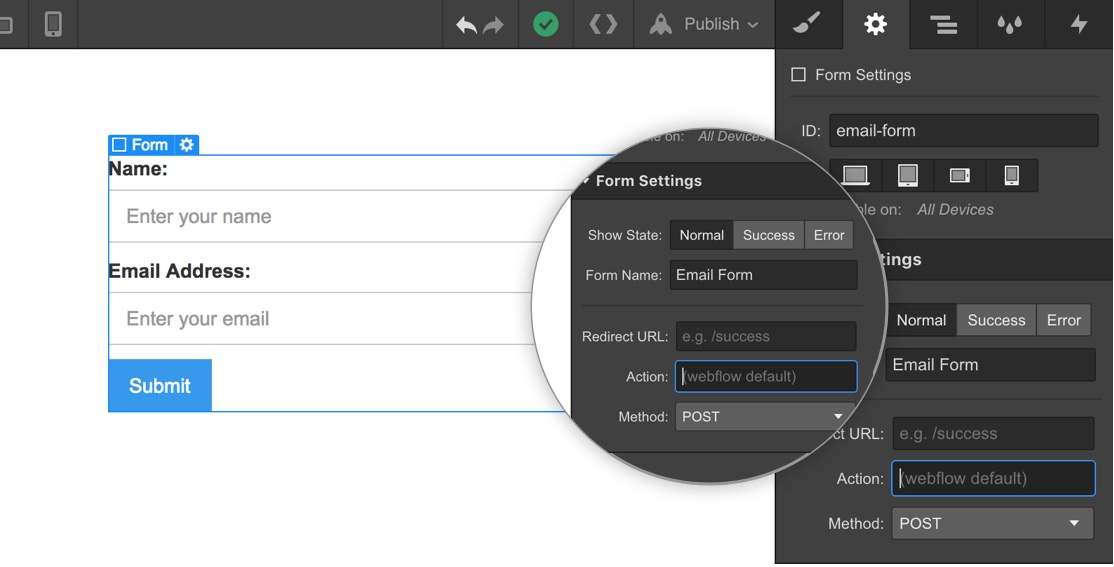 Collect form submissions on exported sites   Webflow University
