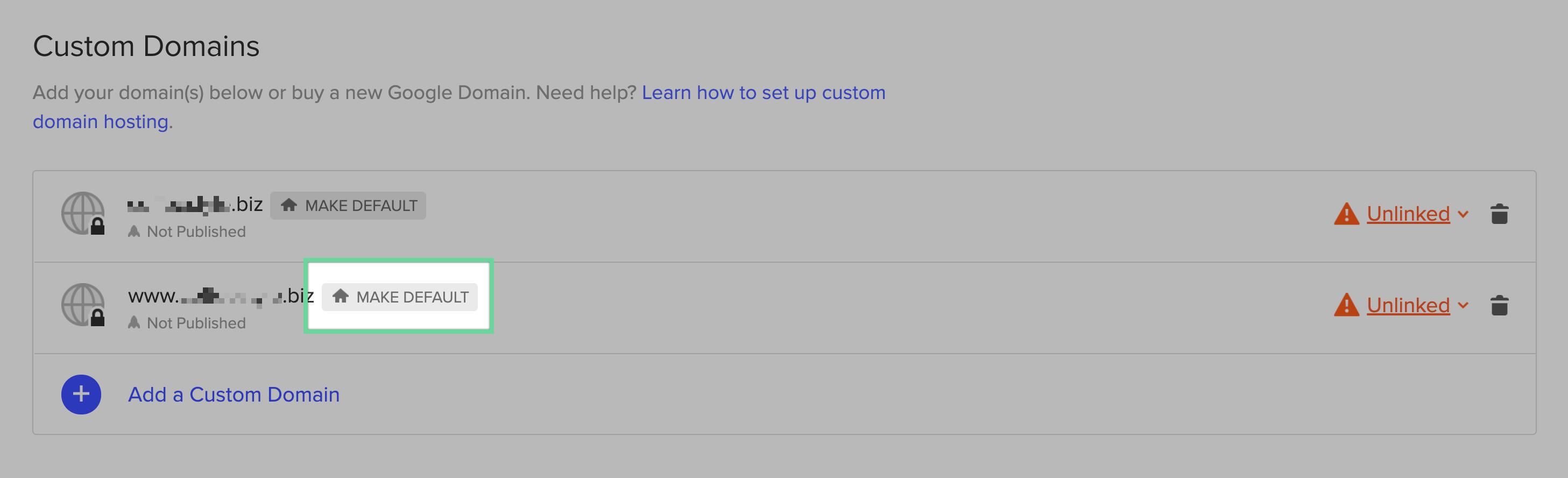 Make a domain the default domain.