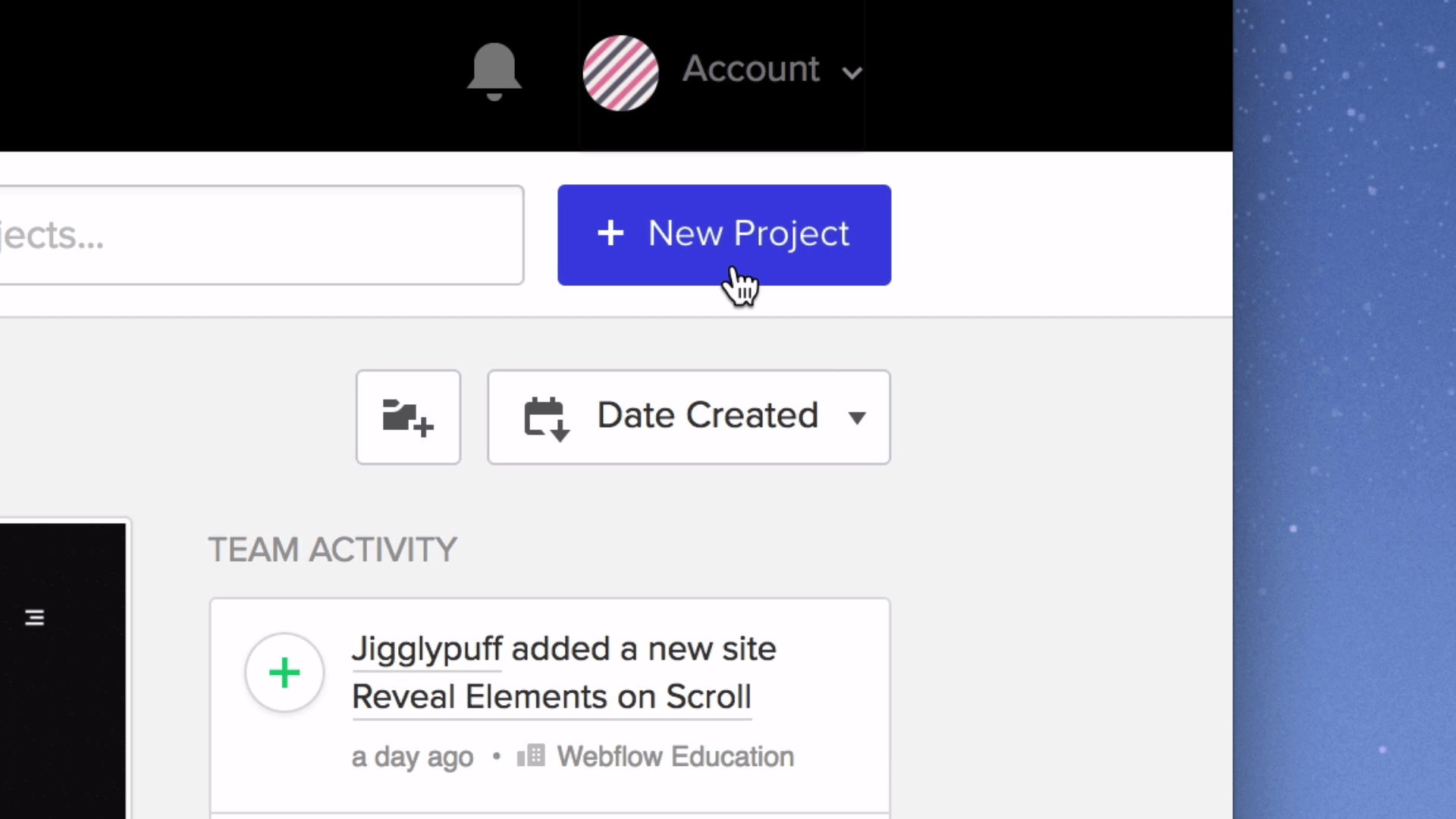 Create a new project by clicking on the blue button at the top right corner of the dashboard.
