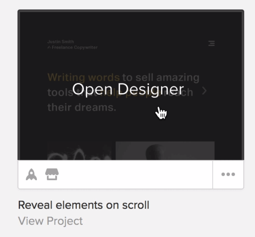To open the project in the Designer, clicking on the thumbnail and design away!