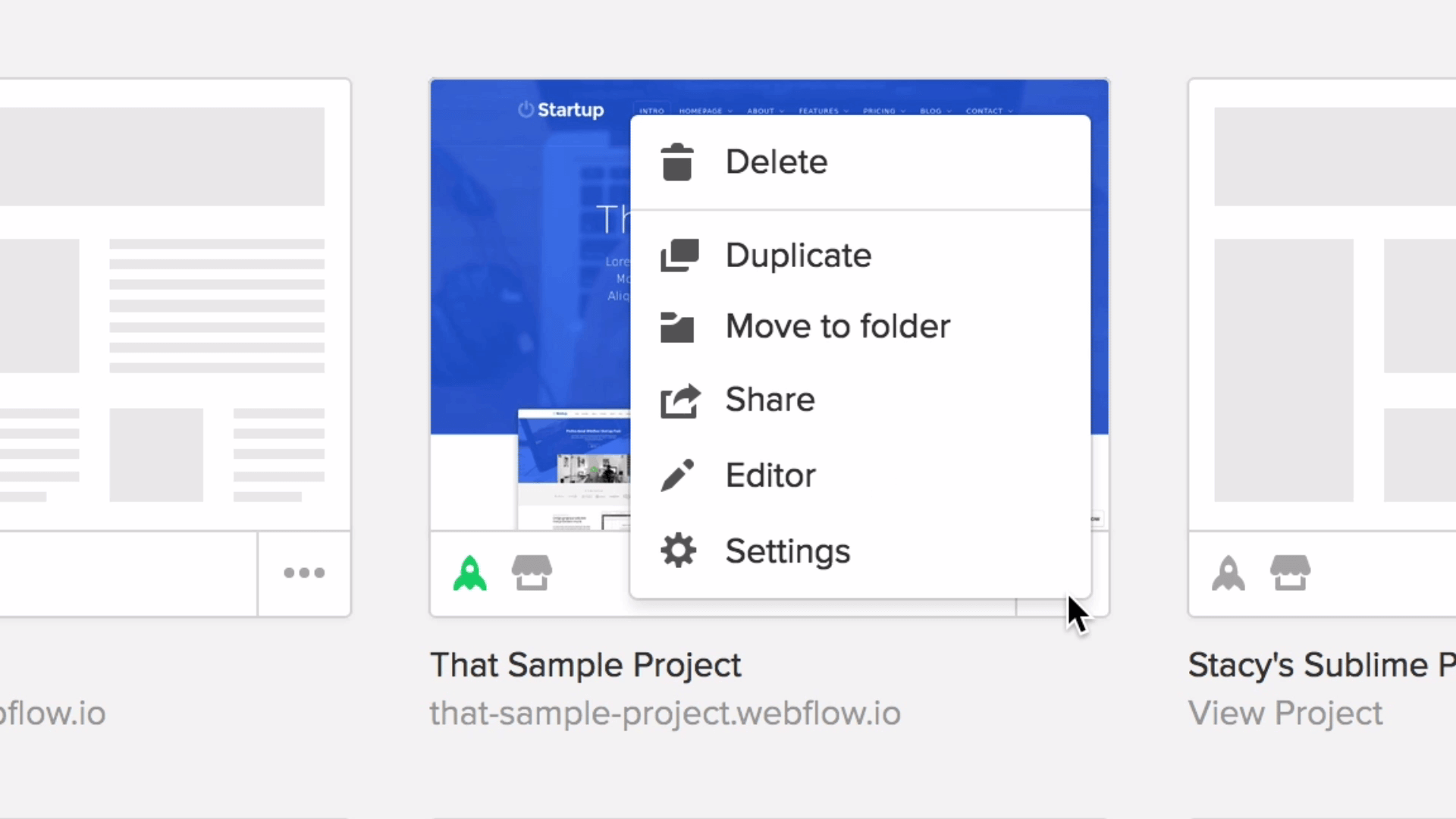 The project menu allows you to quickly manage your project.