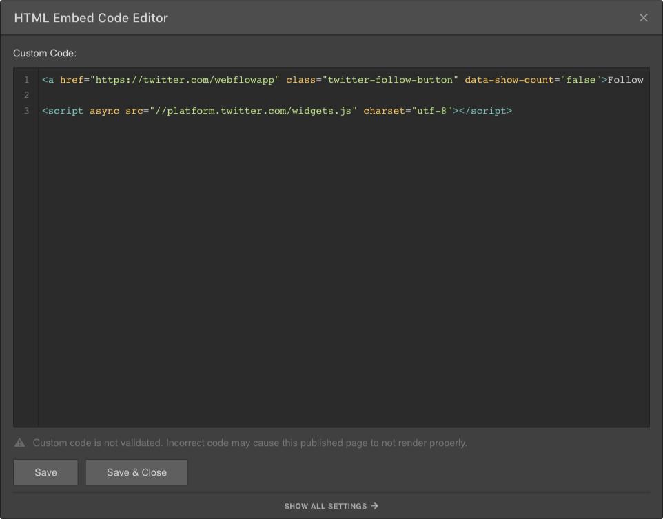 Webflow Embed Code Editor