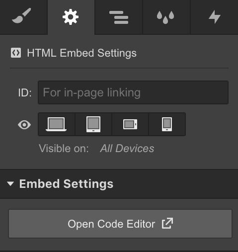 Webflow Embed Settings