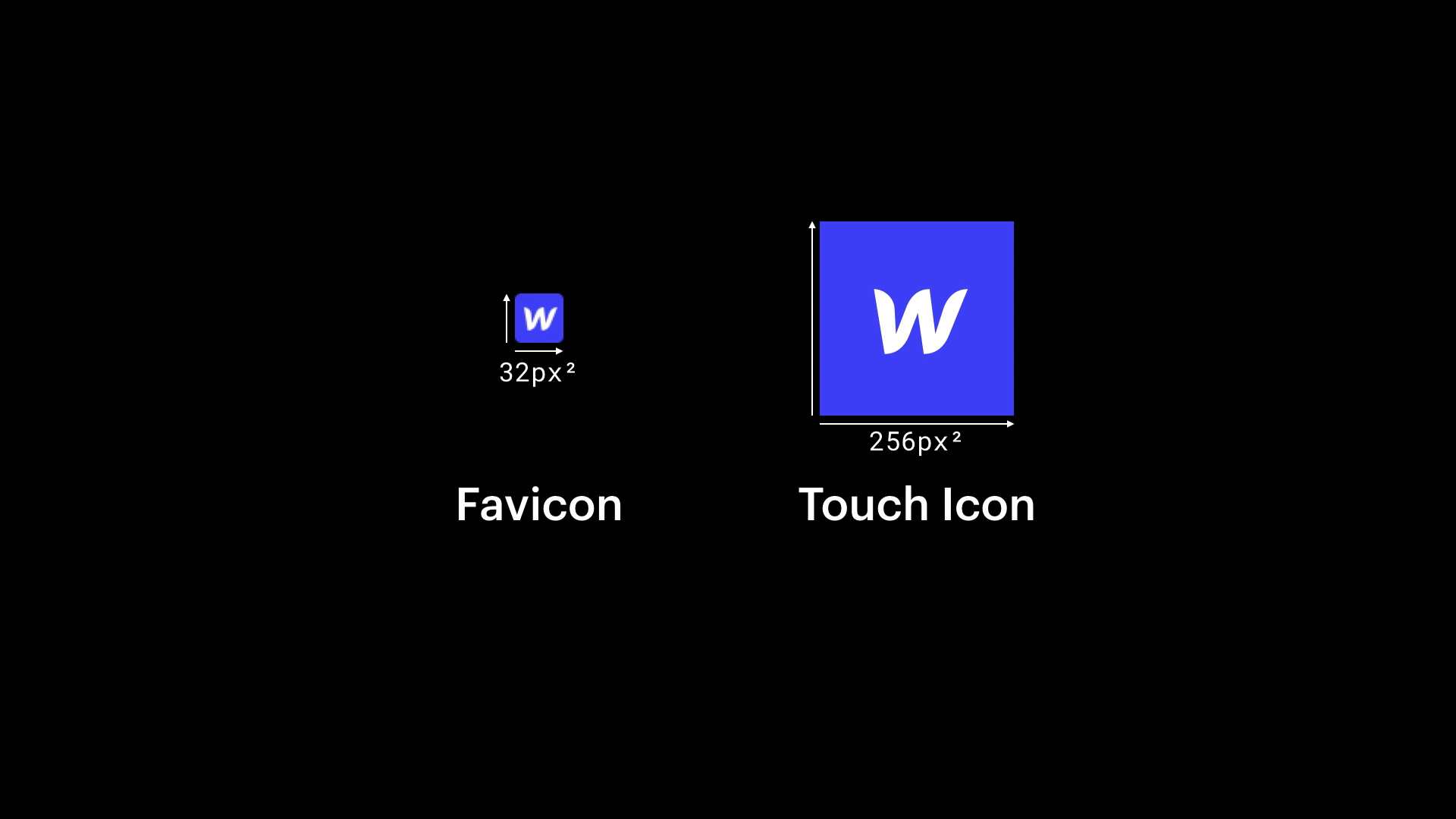 Webflow Favicon and Touch icon sizes