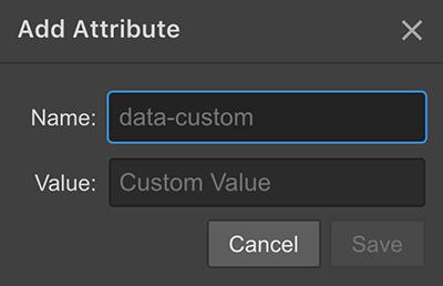 Adding custom HTML attributes in Webflow