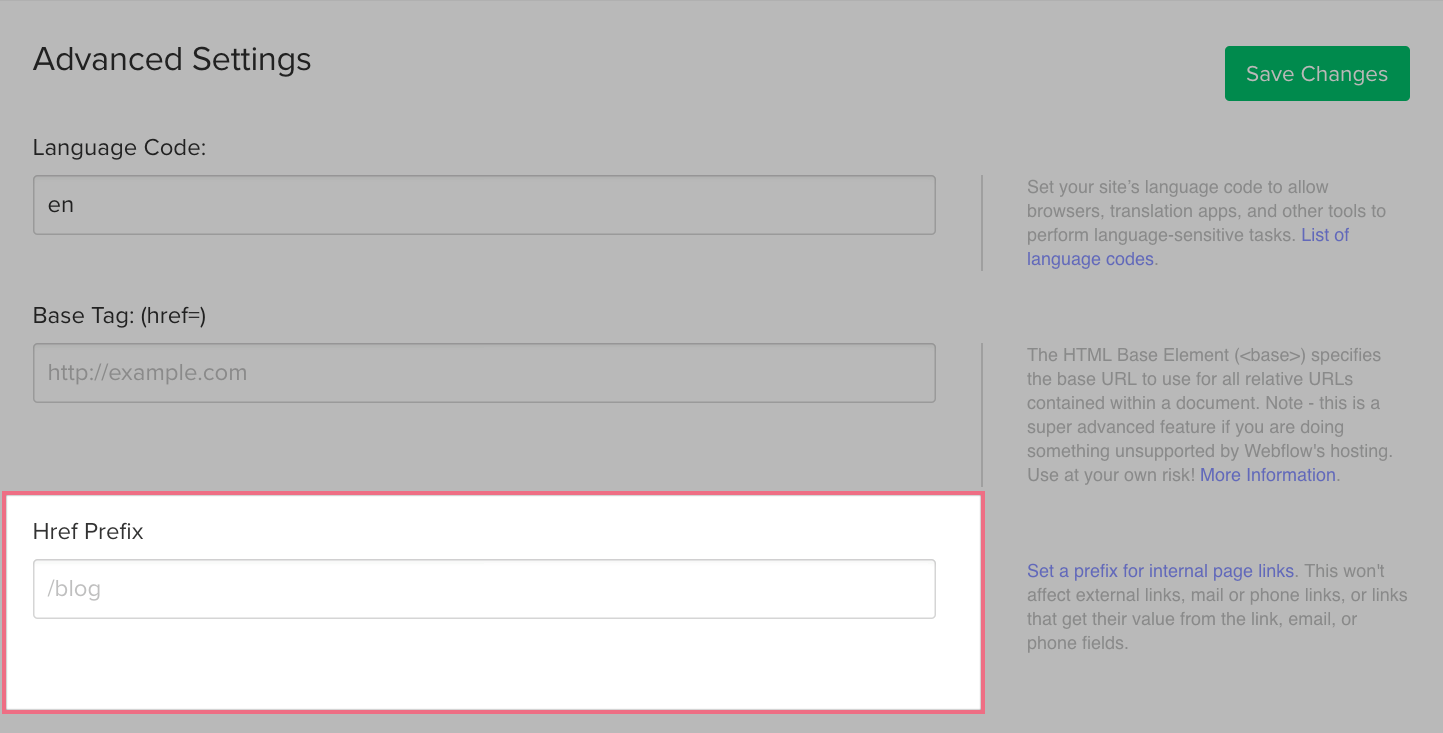 Setting an Href prefix to host part of your site with Webflow