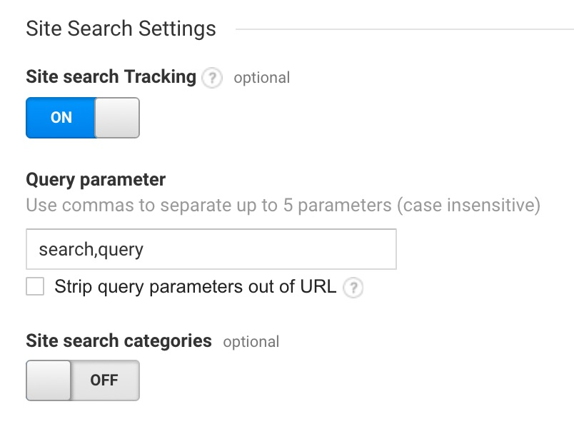 This is how your site search setup should look in Google Analytics.