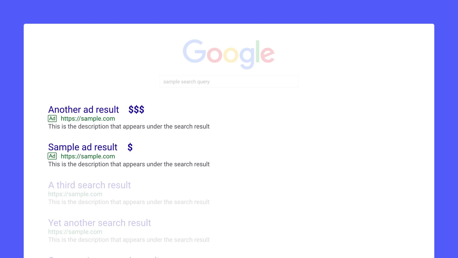 Paid search results