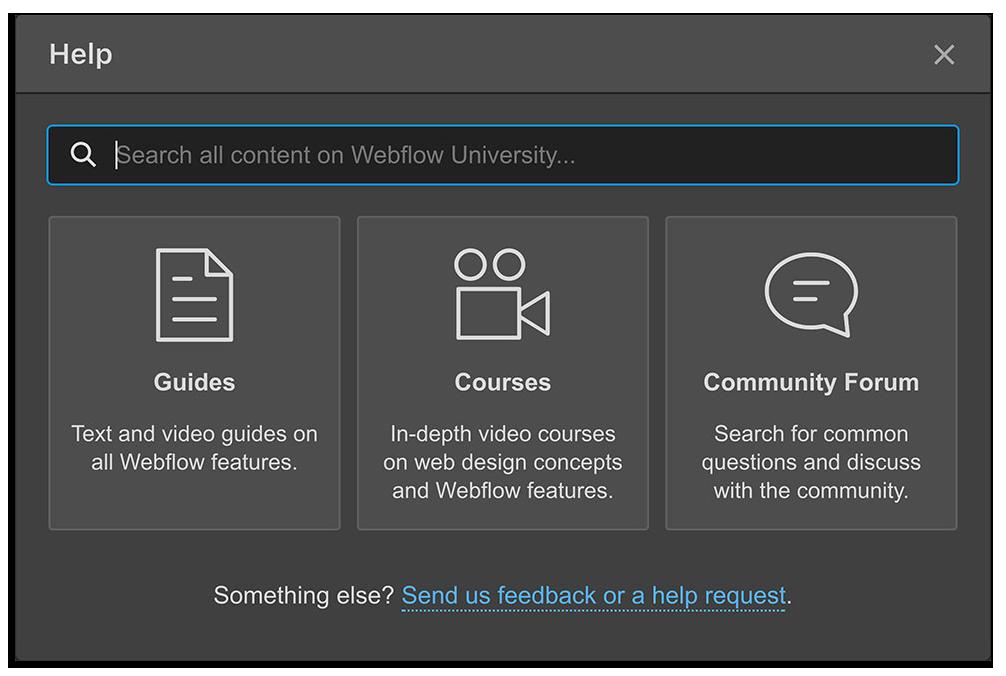 The Help & feedback modal in the Webflow Designer