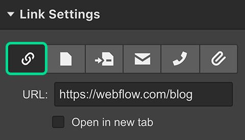 Link Settings in Webflow