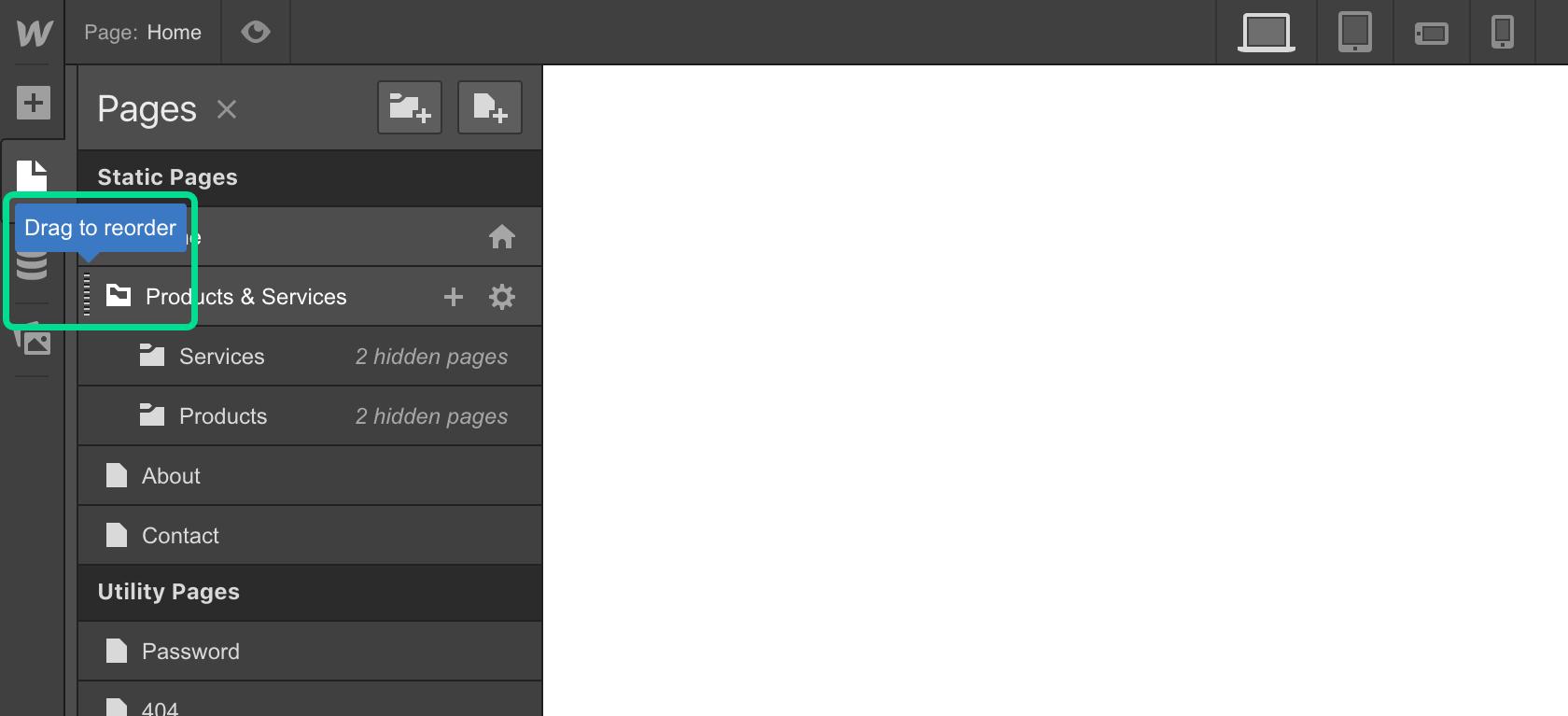 Moving folders in Webflow