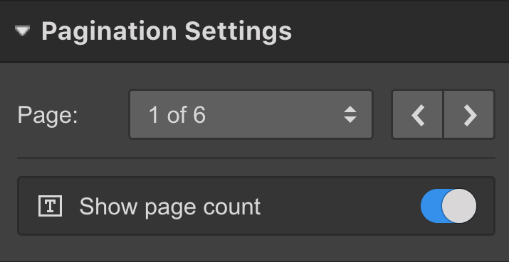 Pagination settings