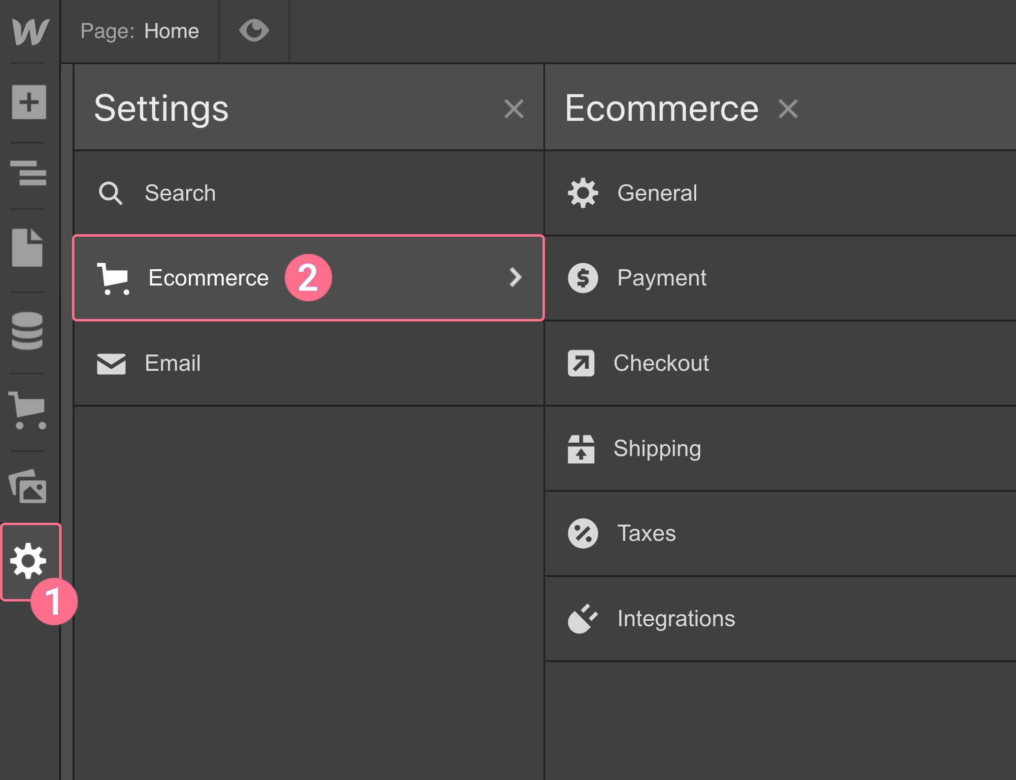 E-commerce settings