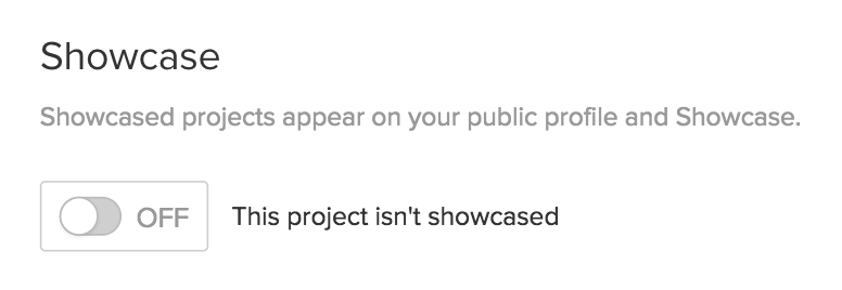 Showcase your project to make it visible to the public in your public profile and the Webflow Showcase.