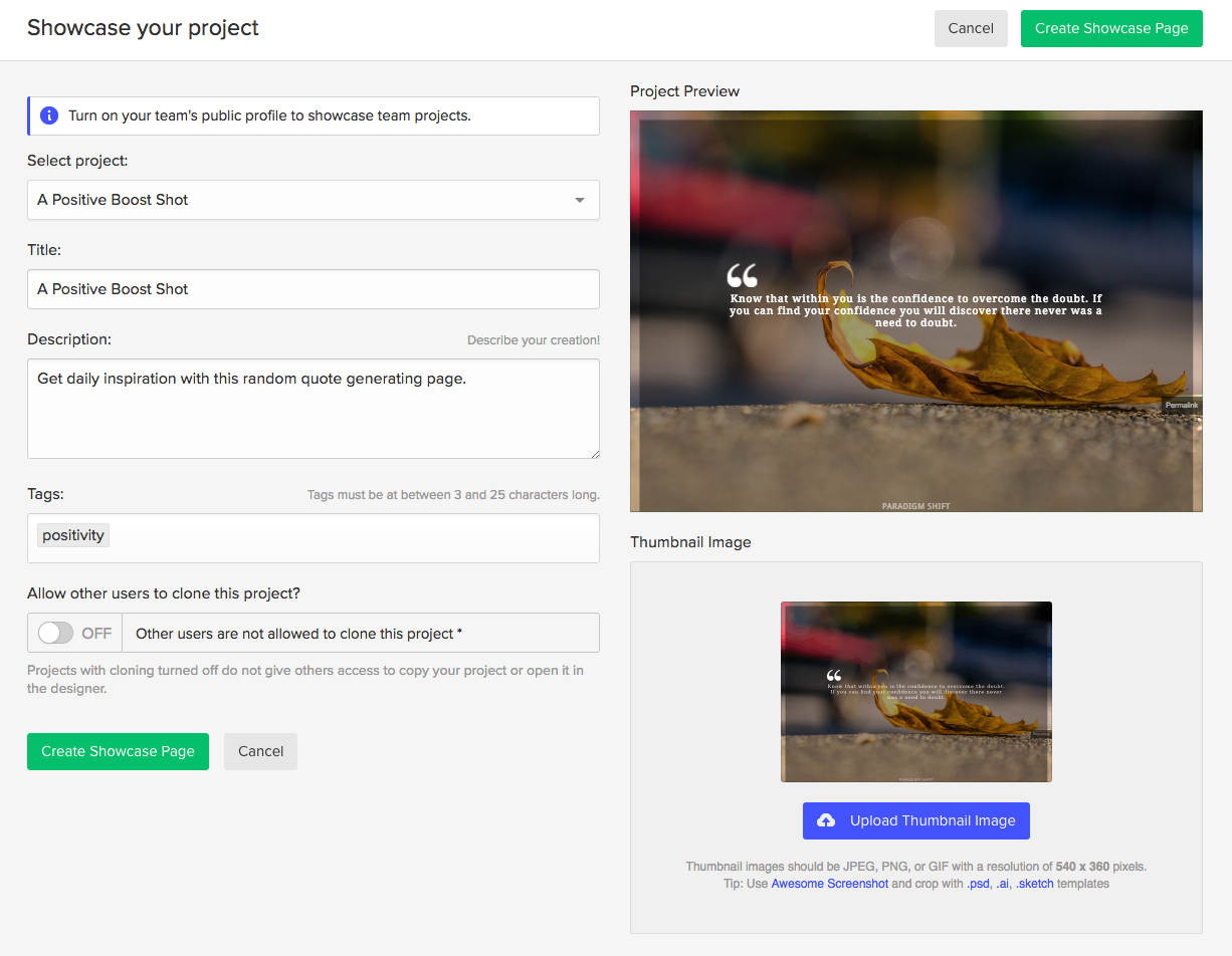 Before you showcase your project, make sure to add some info about your project.
