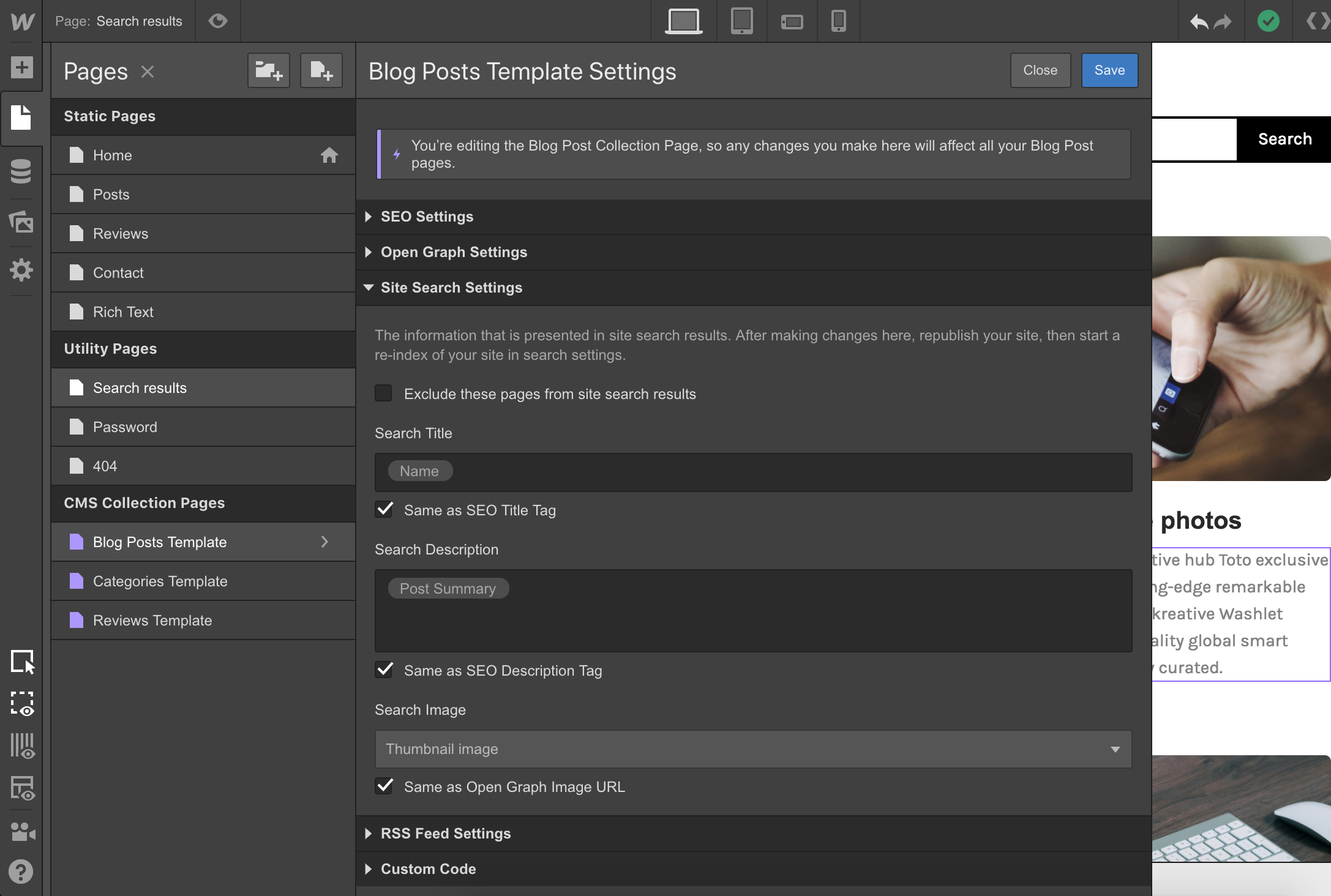Control what content displays in search results under your Page Settings.