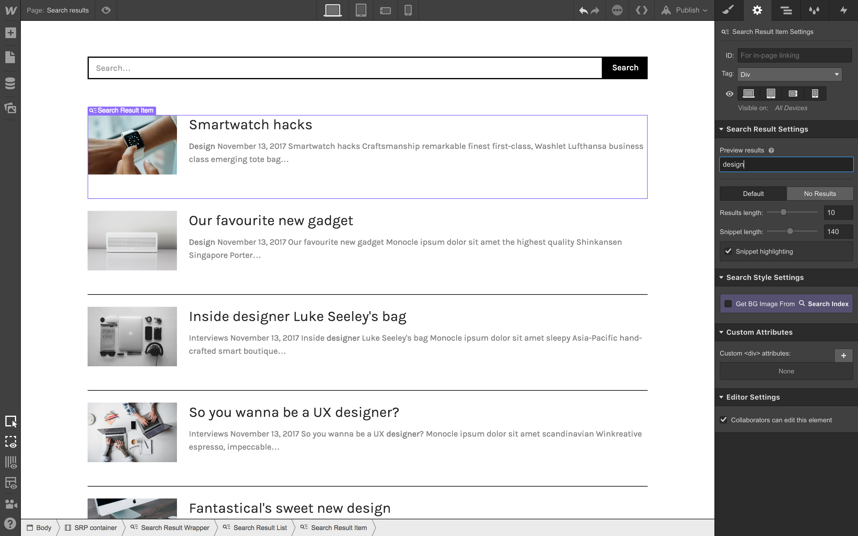 Preview results before going live to see how results look for different queries.
