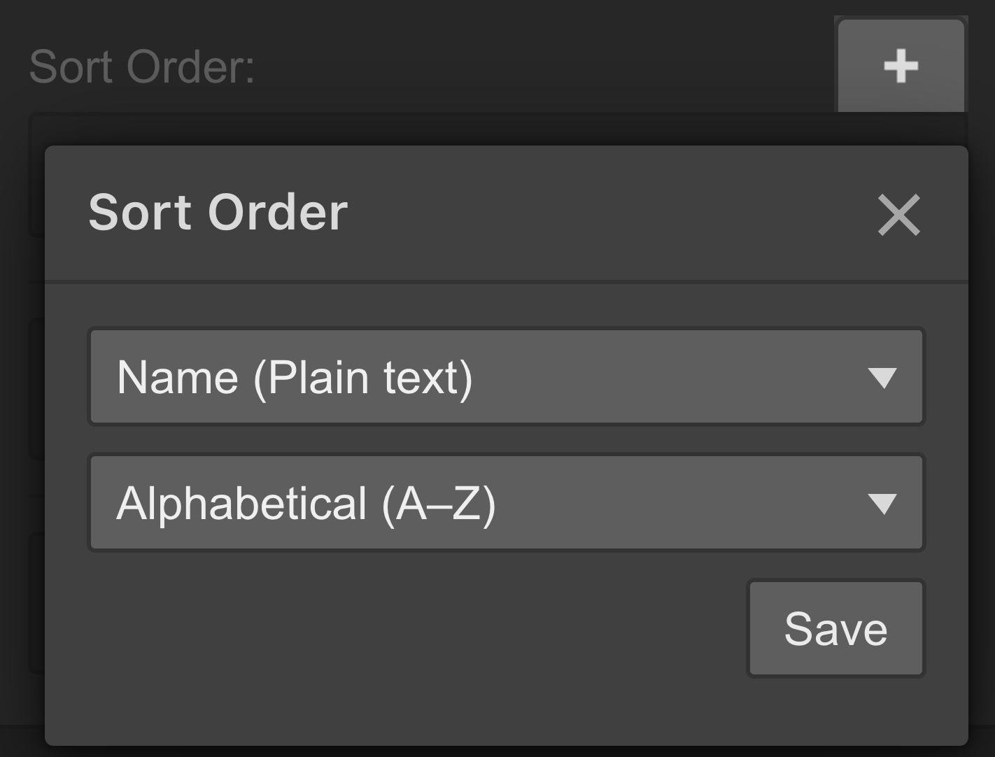 Add a sort order rule to a list