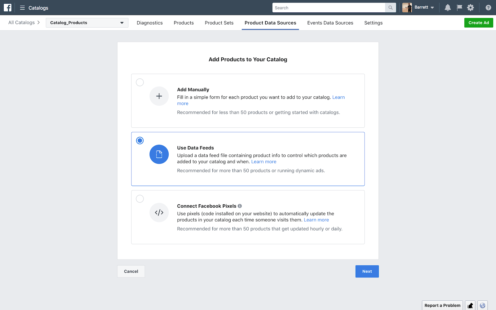 Use data feeds to add products to your Facebook Catalog