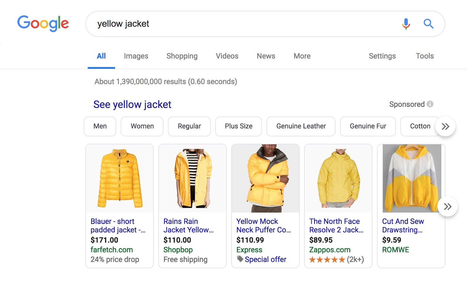Google results displaying products that match the search query.